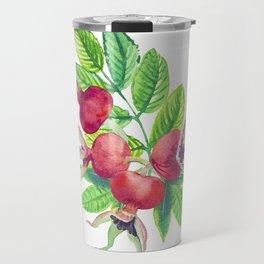 dog-rose watercolor botanical illustration Travel Mug