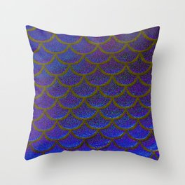 Dandelion Denim Scales Throw Pillow