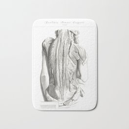 Human Anatomy Art Print WOMEN BACK MUSCLE Vintage Anatomy, doctor medical art, Antique Book Plate Bath Mat