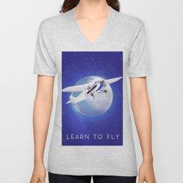 Learn to Fly vintage poster Unisex V-Neck
