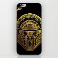 gold foil iPhone & iPod Skins featuring Mandala BobaFett - Gold Foil by Spectronium - Art by Pat McWain