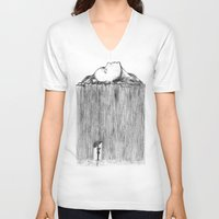 rain V-neck T-shirts featuring rain by Gerard Russo