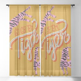 Go Get 'Em Tiger – Yellow Palette Sheer Curtain