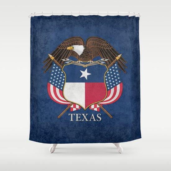 Texas Flag And Eagle Crest Vintage Original Design By Brucestanfieldartist Shower Curtain By
