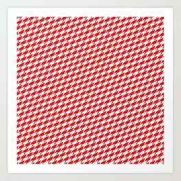 Sharkstooth Sharks Pattern Repeat in White and Red Art Print