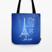 eiffel tower Tote Bags featuring  Eiffel Tower by mewdew