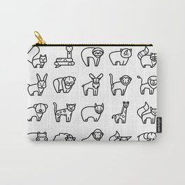 CUTE ANIMALS PATTERN (WILD ZOO ANIMAL CHARACTERS) Carry-All Pouch