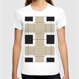 White Hairline Squares in Light Brown T-shirt