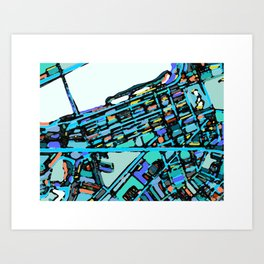 Boston Back Bay Abstract Map Art Print