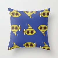 yellow submarine Throw Pillows featuring Yellow submarine by Posterity
