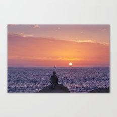 Man Enjoying Sunset Canvas Print