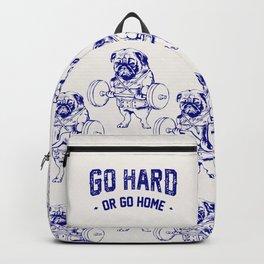 Go Hard Or Go Home Pug In Blue Backpack