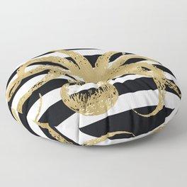 Gold Octopus on Black & White Stripes Floor Pillow