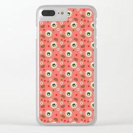Polish folk flowers on living coral background Clear iPhone Case