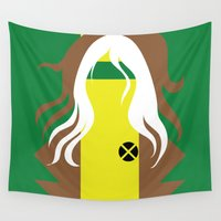 x men Wall Tapestries featuring Rogue - Minimalist - X-Men by Adrian Mentus