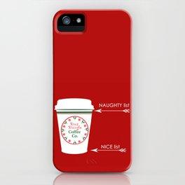 Christmas Naughty Nice Coffee Cup iPhone Case