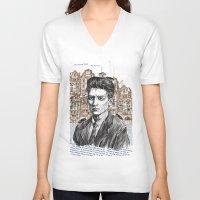 kafka V-neck T-shirts featuring Kafka by Nina Palumbo Illustration