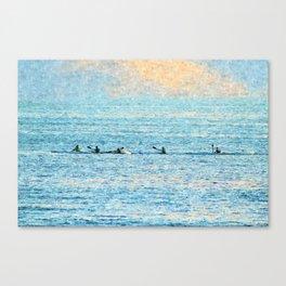 Kayakers kayaking at sea Canvas Print
