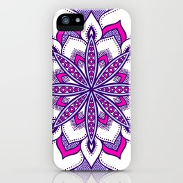 Fuchsia Lavender Flower Mandala iPhone Case