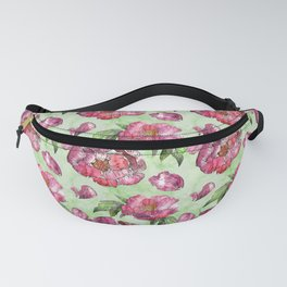 Roses and Peonies light green pattern Fanny Pack