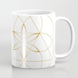 Minimalist Sacred Geometry Flower of Life in Gold and White Coffee Mug