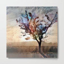 Tree in Fall Light Metal Print