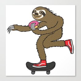 Skater Sloth loves donut Canvas Print