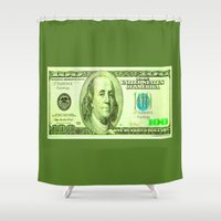 the 100 Shower Curtains featuring 100 Dollars by JT Digital Art
