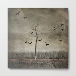 A Tree And Crows Metal Print