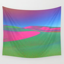 Psychedelic Sand Dunes - Pink Green Blue Wall Tapestry