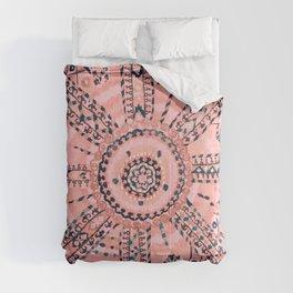 Light Pink Wildflower Sunshine I // 18th Century Colorful Pinkish Dusty Blue Gray Positive Pattern Comforters
