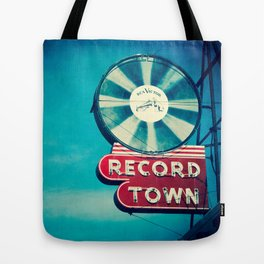 Record Town Neon Sign Tote Bag