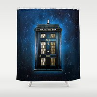 221b Shower Curtains featuring Tardis doctor who Mashup with sherlock holmes 221b door by Three Second