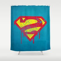 superheros Shower Curtains featuring Superzombie by Nxolab