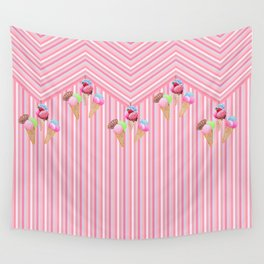 Ice cream stripes , pink, mint and aqua Wall Tapestry