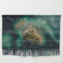 Forest island in a lake - Aerial landscape Wall Hanging