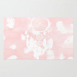 Blush pink watercolor dreamcatcher boho feathers illustration Rug
