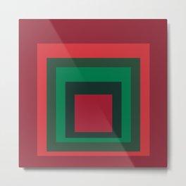 Red Squares Green Square Metal Print