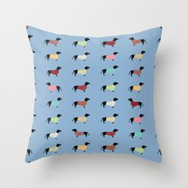 Dachshund - Blue Sweaters #708 Throw Pillow