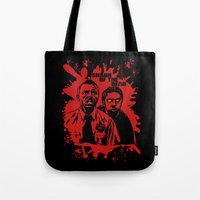 shaun of the dead Tote Bags featuring Shaun of the dead blood splatt  by Buby87