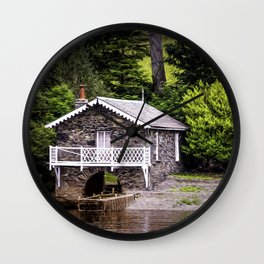 Boatshed On The Lake Wall Clock