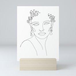 Elegant One Line Face Art, Woman Face Mini Art Print