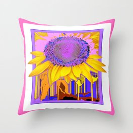 Pretty Pink Pattern with Surreal Lilac- Yellow Sunflower Throw Pillow