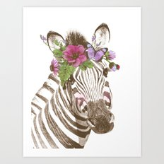 Zebra with flowers Art Print