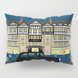 Art Print of Liberty of London Store - Night with Black Cab Pillow Sham