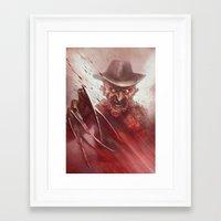 freddy krueger Framed Art Prints featuring FREDDY KRUEGER by The Art of Austen Mengler