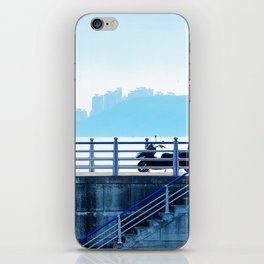 Faded blue landscape iPhone Skin