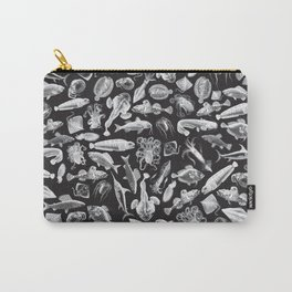 Aquatic I: White on Black Carry-All Pouch