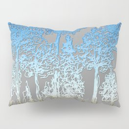 Blue and white forest Pillow Sham