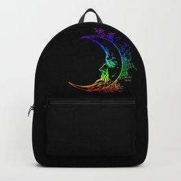 Boho Crescent Moon Rainbow Man On Moon Backpack